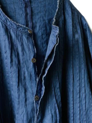 Picture No.7 of KAPITAL French Cross Linen Pin-tuck Okiefe Dress K1502OP187EK-435EK-909