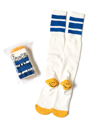Picture No.1 of KAPITAL 144 Heel Smiley Embroidery Skater's Knee High K2104XG551