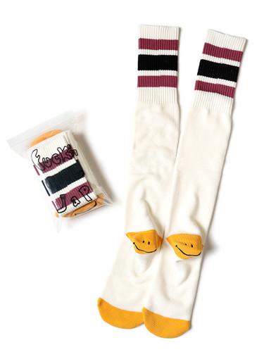 Picture No.2 of KAPITAL 144 Heel Smiley Embroidery Skater's Knee High K2104XG551