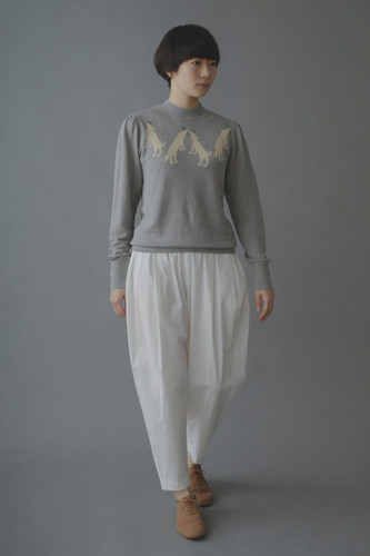 Picture No.1 of minä perhonen wolf & amp; flower Long Sleeve Knit Pullover ZS8578