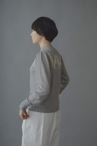 Picture No.2 of minä perhonen wolf & amp; flower Long Sleeve Knit Pullover ZS8578