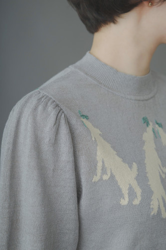 Picture No.3 of minä perhonen wolf & amp; flower Long Sleeve Knit Pullover ZS8578