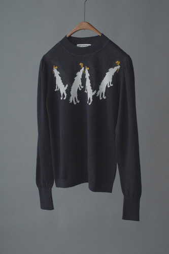 Picture No.4 of minä perhonen wolf & amp; flower Long Sleeve Knit Pullover ZS8578