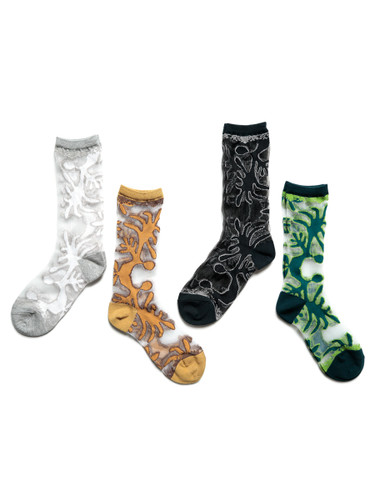 Picture No.1 of KAPITAL 168 Nasca Quilt Pattern See-through Socks K2105XG560