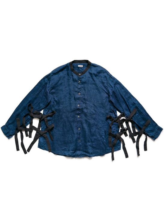 Picture No.1 of KAPITAL IDG French Cross Linen Band Collar Tibetan Shirt K2104LS111