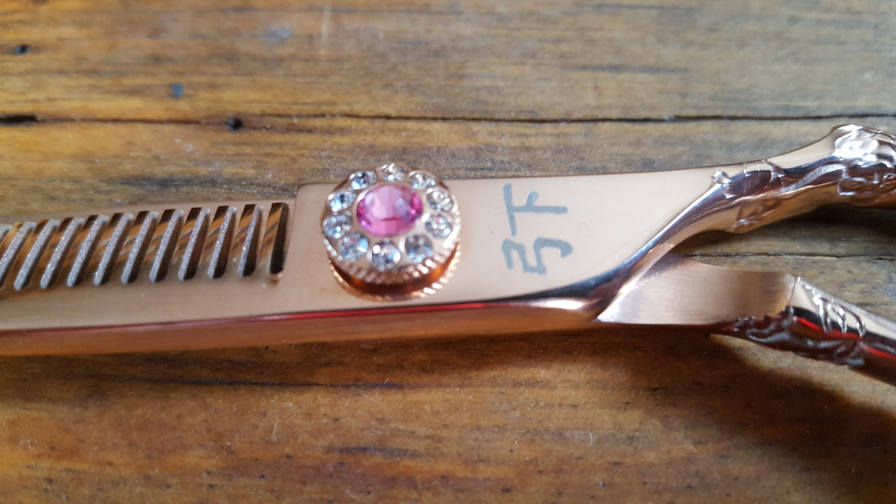 Engraved Handle Rose Gold Thinning Shear