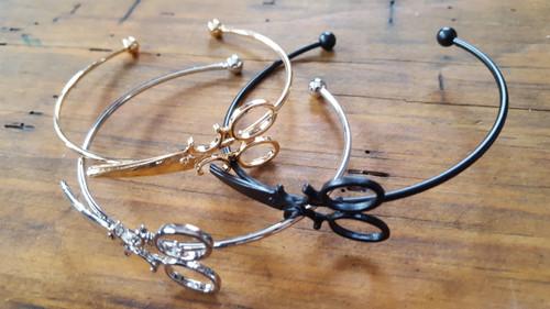 Large Scissor Bracelet with Open Cuff