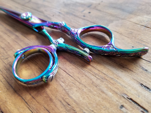 Craft Series Engraved Handle Rainbow Titanium Double Swivel Hair Scissor