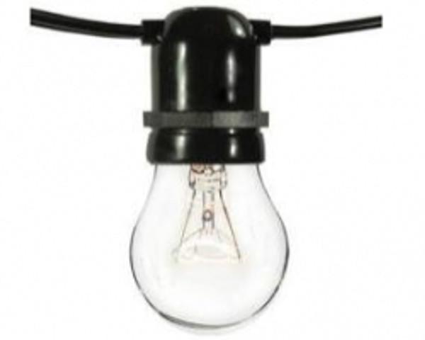 50' Commercial Grade Bistro String Light With 120v Incandescent Clear Bistro Lamps (Medium Base L-BK-S14-11-120)