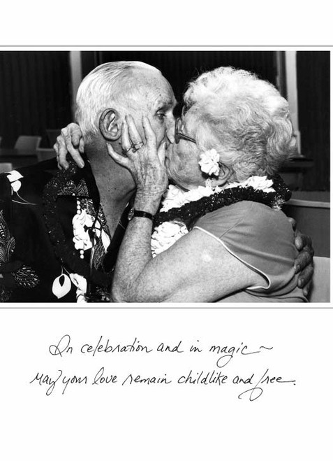 Old Couple Kissing  129A