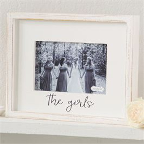 "White-washed wood frame features printed sentiment and holds 4"" x 6"" photo."