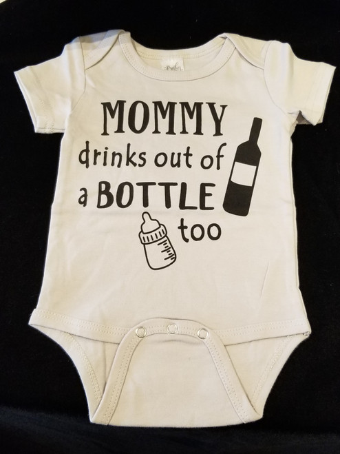 Mommy Drinks out of Bottle Diaper Shirt