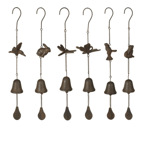 Assorted Cast Iron Garden Critter Bell Windchimes