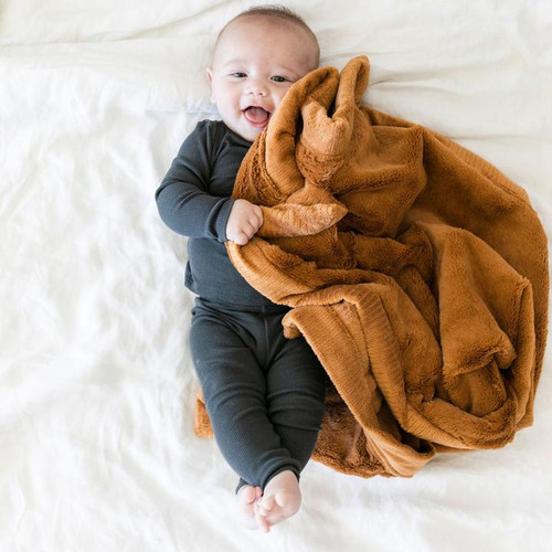 Camel colored lush receiving blanket