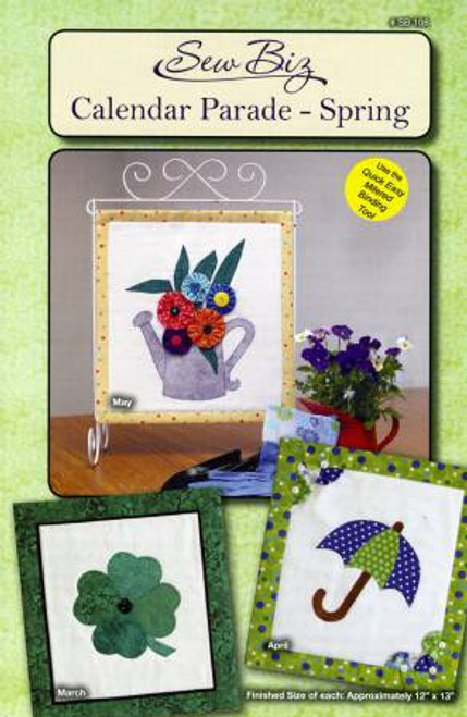 View of the front cover of the Calendar Parade - Spring pattern by Sew Biz