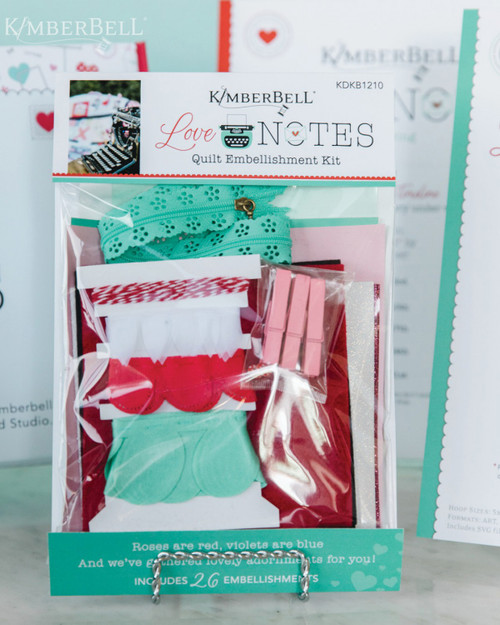 A view of the Love Notes Embellishment Kit by Kimberbell