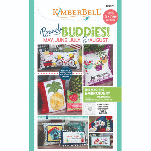 A view of the front cover of the Bench Buddies: May, June, July, Aug, Machine Embroidery embroidery cd by Kimberbell