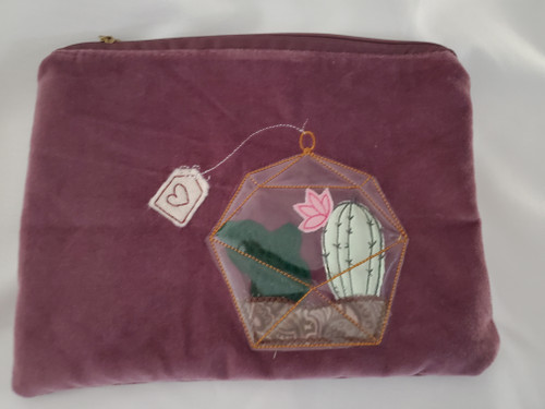 Kimberbell Fill in The Blank: April | Amethyst Velveteen Zipper Pouch Blank with Free Design