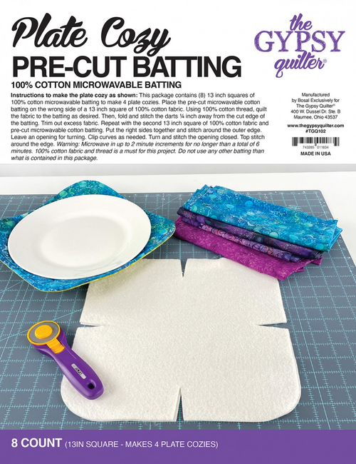 A view of the front of the packaging for the Plate Cozy Pre Cut Batting 8ct by Gypsy Quilter