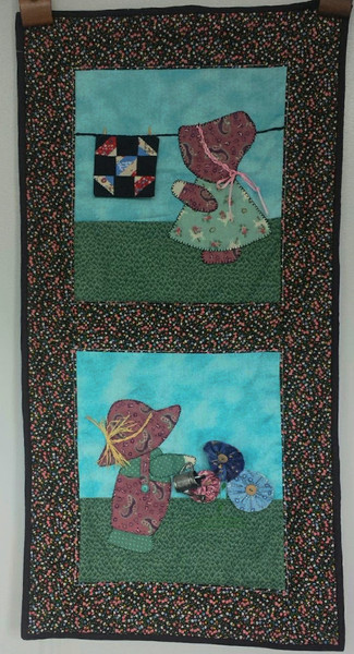 Sunbonnet Girl and boy at work