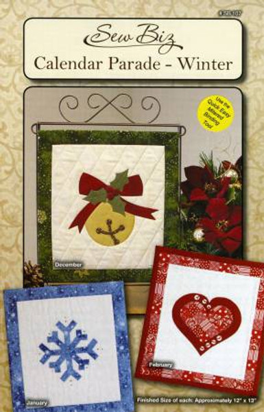 View of the front cover of the Winter Calendar Parade pattern by Sew Biz