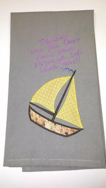Decorative Cotton Towel Sailboat theme