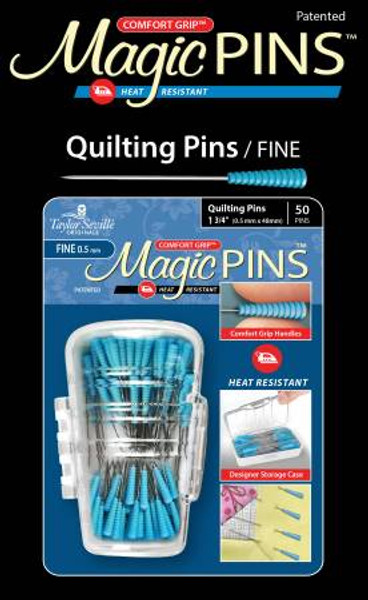 "Comfort Grip, Heat Resistant, 50pc. Taylor Seville Originals Notions make your sewing life easier. The Comfort Grip Magic Pins Fine Quilting are 1 3/4"" and .5mm. They have a comfort grip head that makes picking up and maintaining a grip on the pin, easy. The Comfort Grip Magic Pins are also heat resistant, so if you iron over them, they will not be ruined. The pins come in a designer storage case that closes, so you won't lose any pins!"