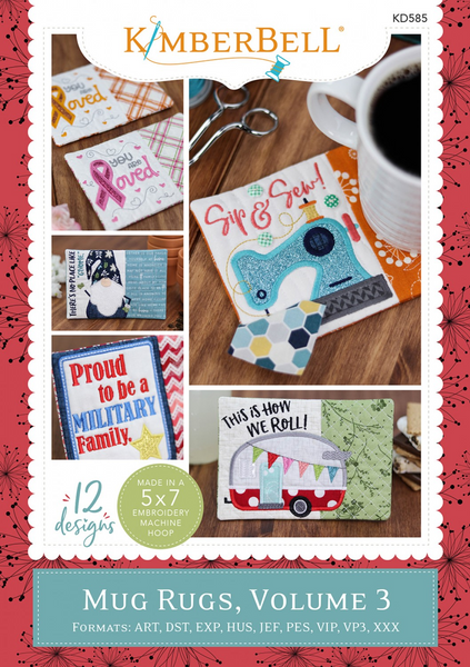 A view of the front cover of Mug Rugs, Vol. 3 embroidery CD by Kimberbell