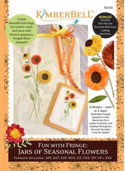View of the front cover of the Fun With Fringe: Jars of Seasonal Flowers pattern by Kimberbell