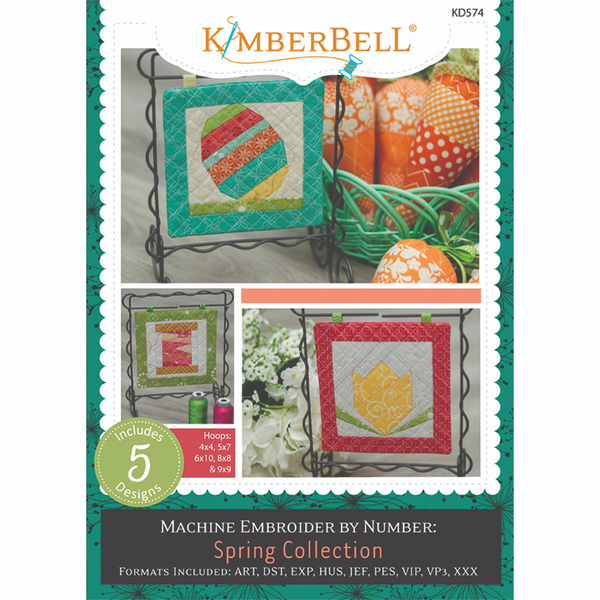 A view of the front cover of the Machine Embroider by Number: Spring Collection embroidery cd pattern by Kimberbell