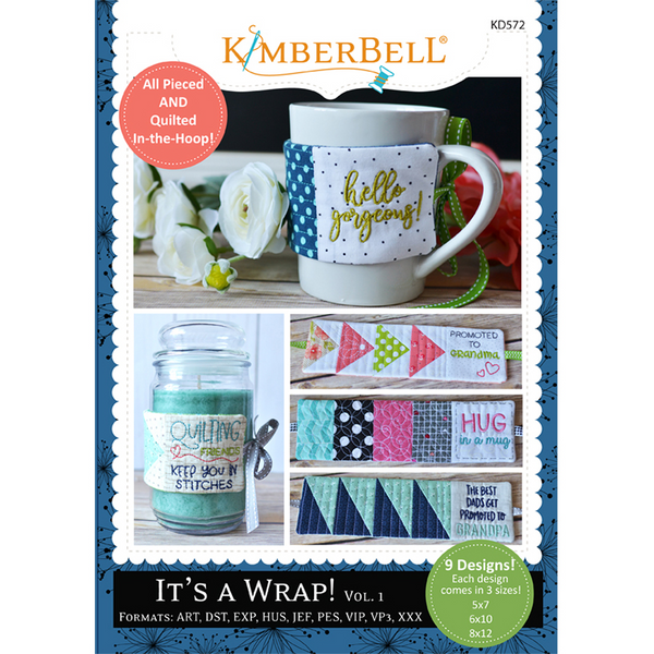 A view of the front cover of the It's a Wrap, Vol. 1 embroidery cd by Kimberbell