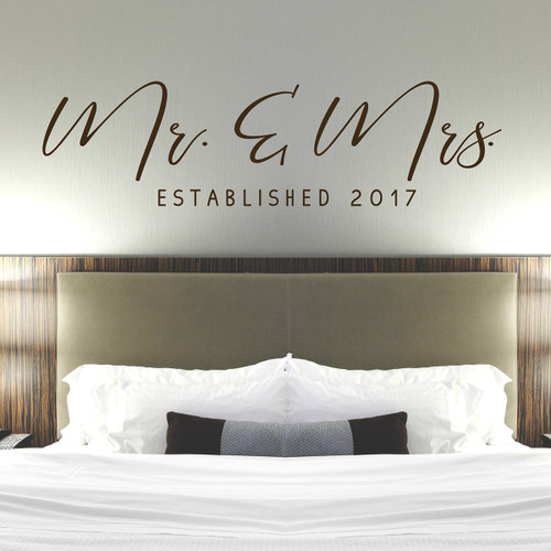 Mr & Mrs Wall Decal - Master Bedroom Wall Decor - Established Date Decal - Modern Calligraphy Wall Decal - Wedding Gift Idea