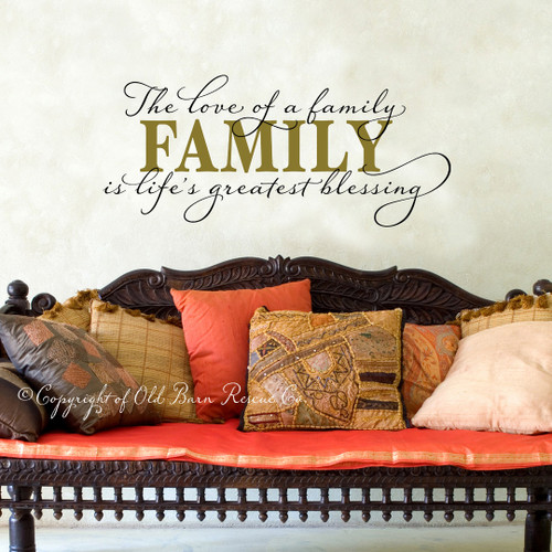 The love of a family is life's greatest Blessing - large wall decal