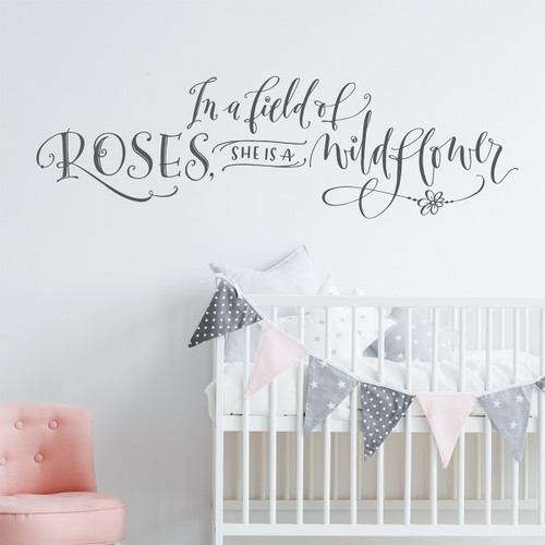 In a field of roses wall decal close