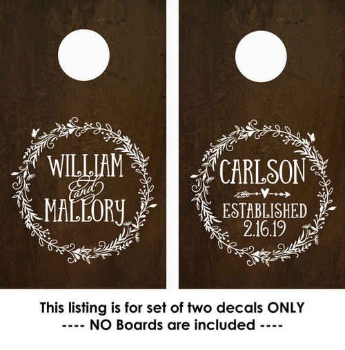 Corn hole decals personalized