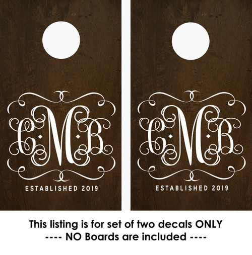 Corn Hole Decals - Monogram