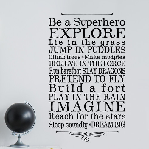 Be a superhero boys room wall decor