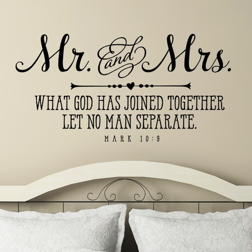 Mr. and Mrs. What God has joined - wall decal
