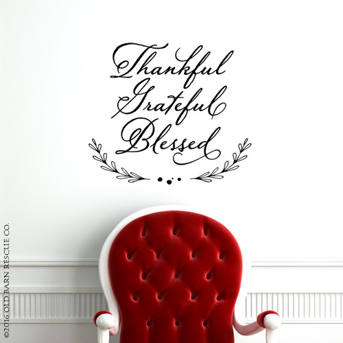 Thankful Grateful Blessed Wall Decal