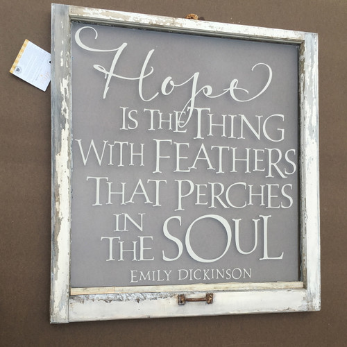 Hope is the thing with feathers - window art - unique wall art