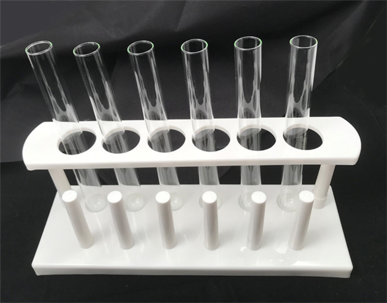 Test tube rack shown with 6 test tubes.