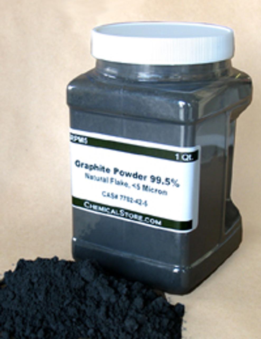 Dry lubricant grade graphite powder with metallic shine in quart container.