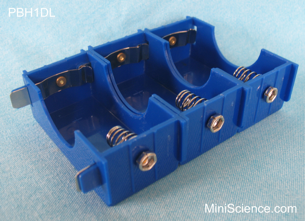 Linkable battery holders connected in parallel to produce higher current and longer life.