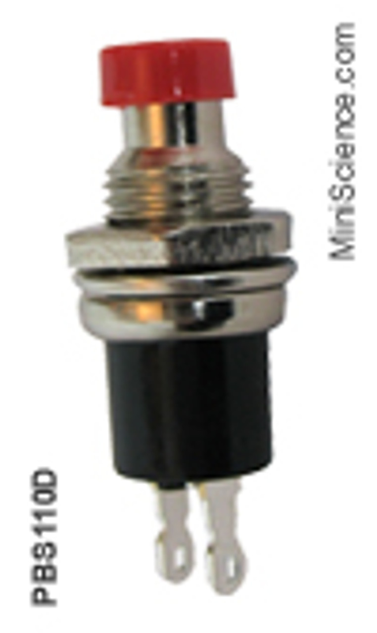Mini Push Button Switch, Red, Open, SPST