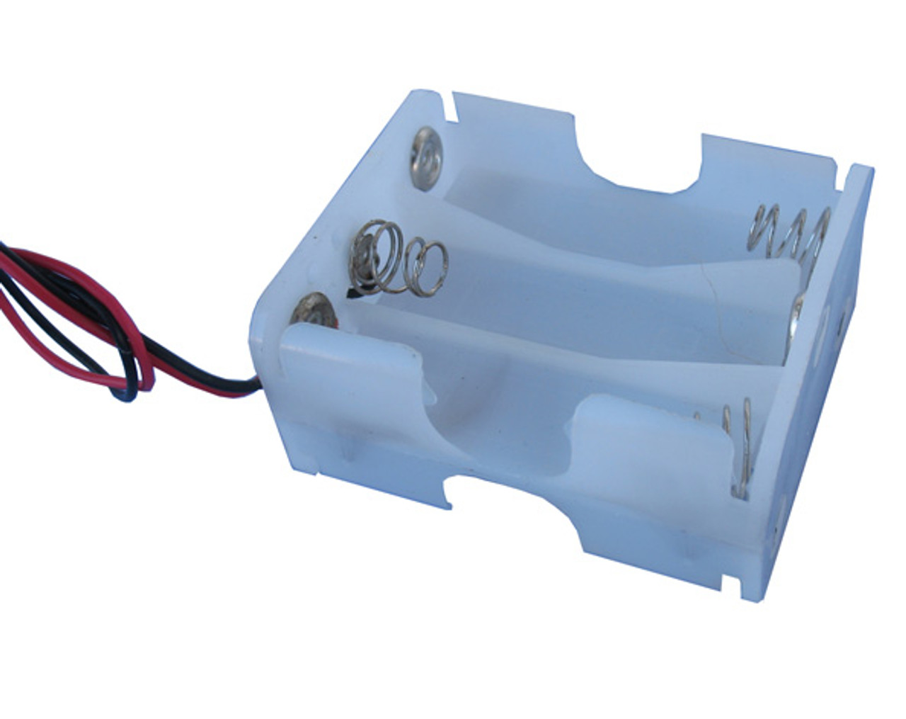 Plastic battery holder for 6 AA size batteries provides a total of about 9 volts and includes connection wires
