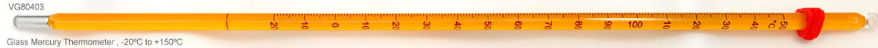 Glass Mercury Thermometer, -20ºC to +150ºC, Horizontal image