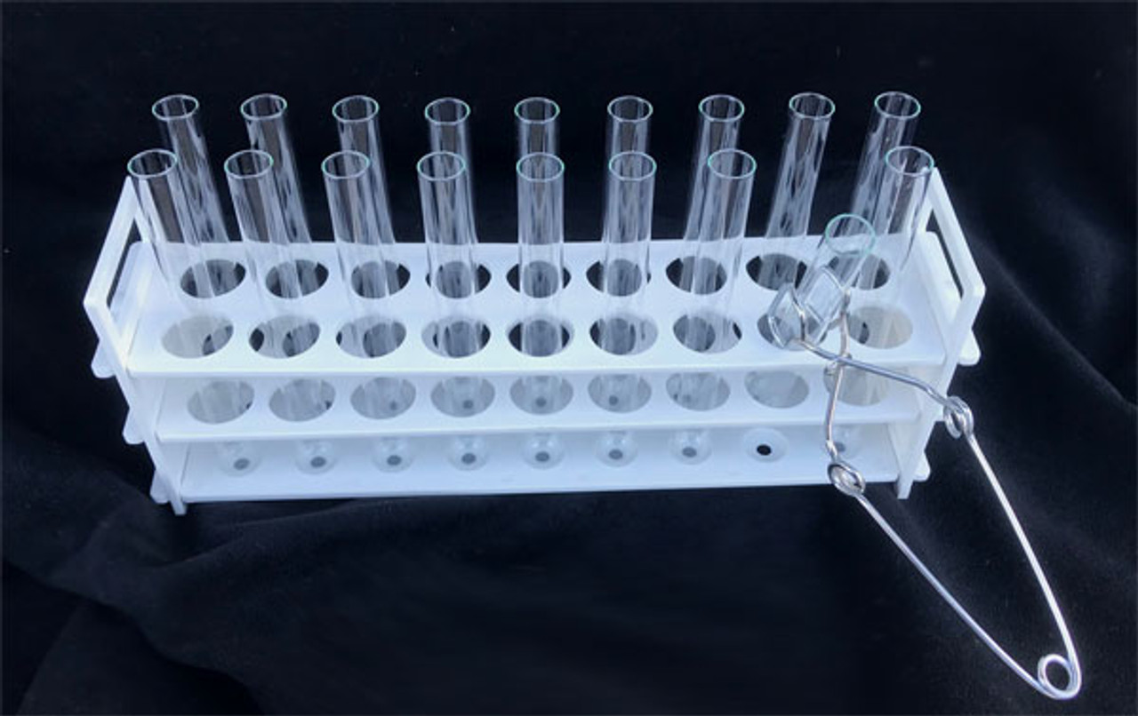 Test Tube Rack, White and Clear (ABS Polymer)