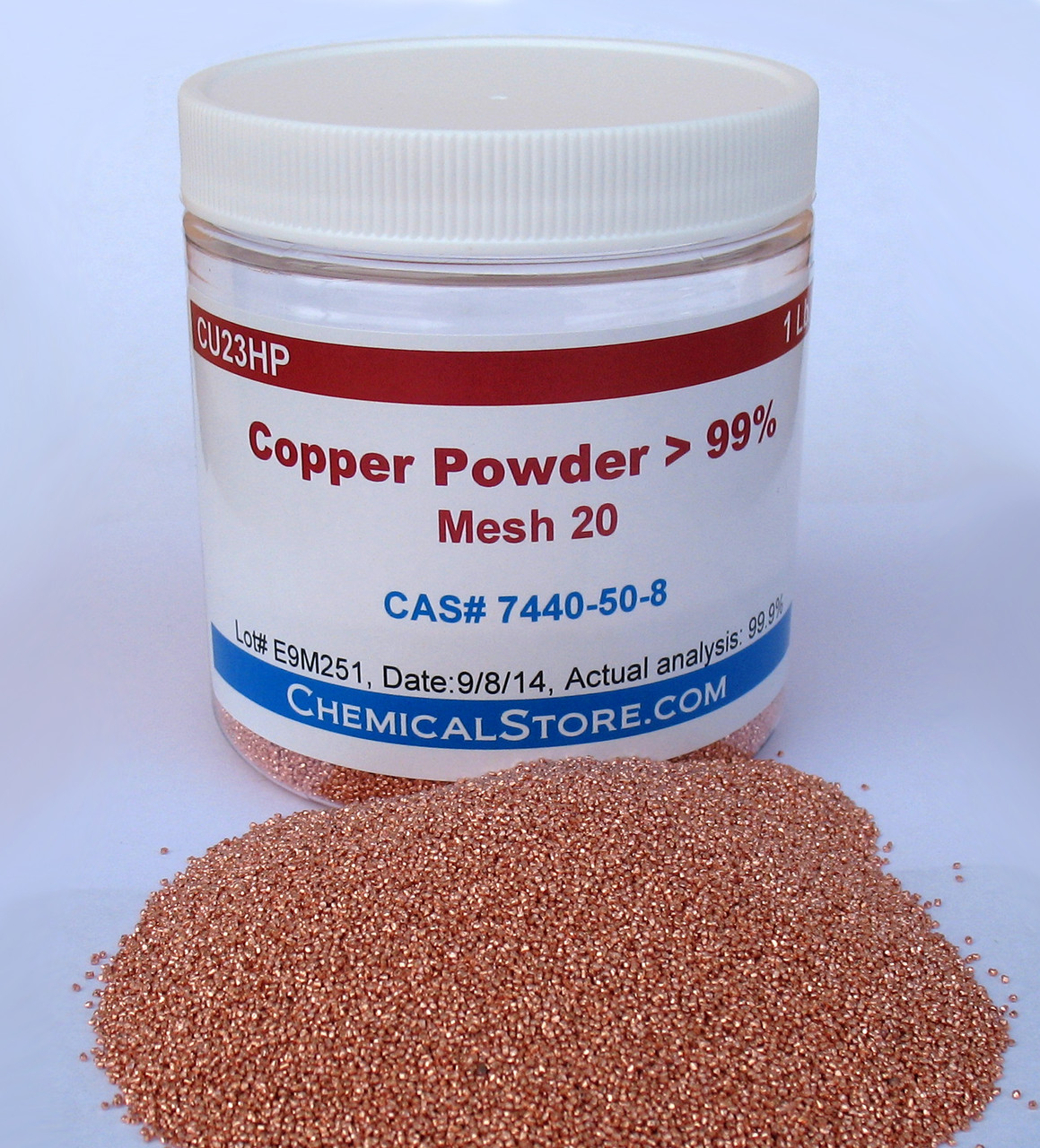 High purity granular copper mesh 20 is made by cutting bare copper wire and then rolling it to form polygons. Each granule is less than one millimeter in diameter.
