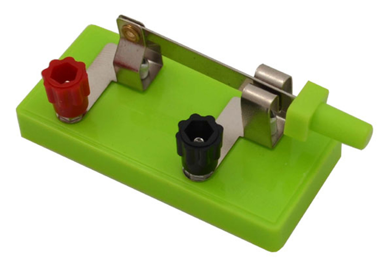 SPST Knife Switch, fluorescent green, with connection knobs
