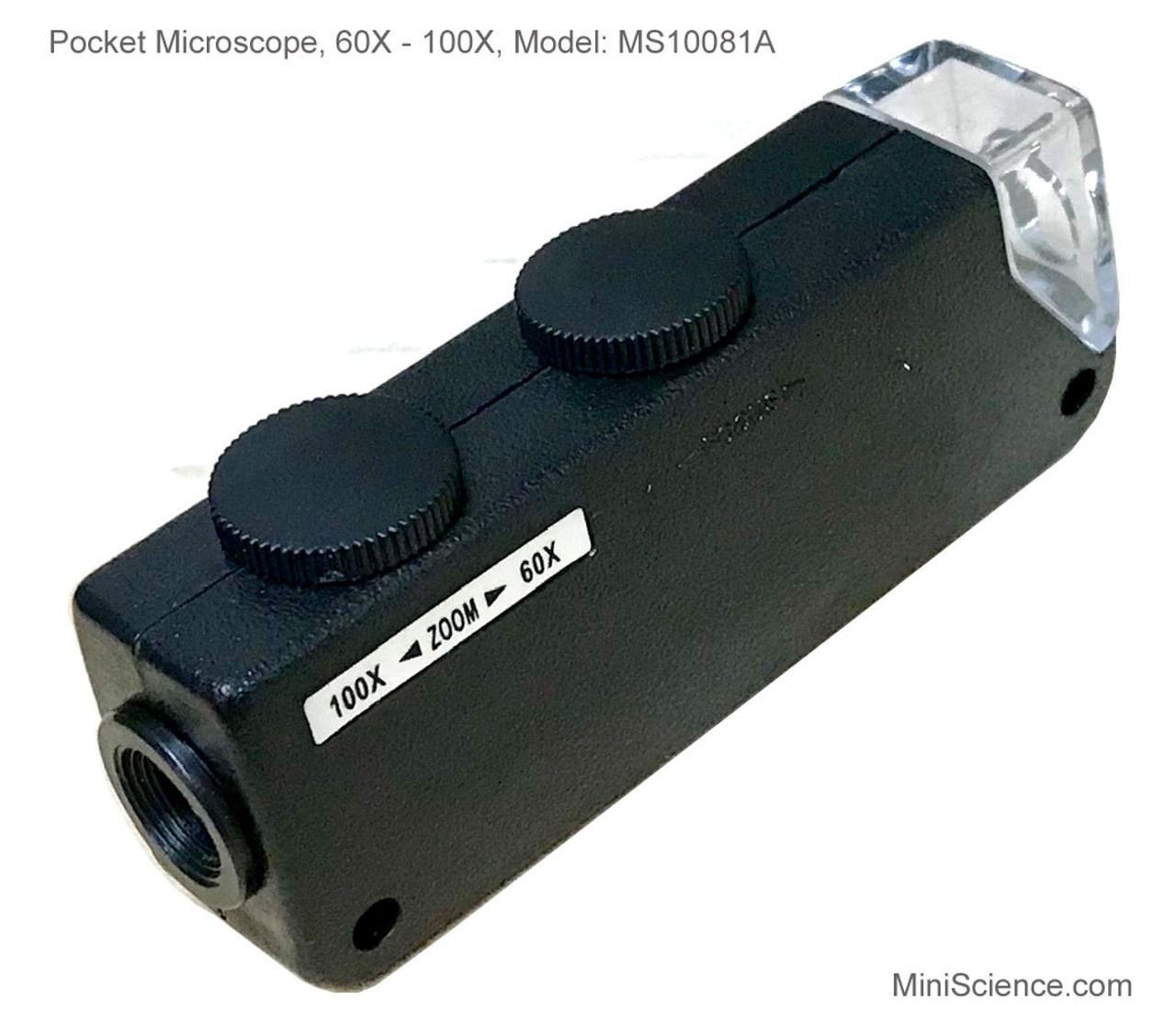 Pocket Microscope Zoom 60X - 100X with white LED light has one knob to adjust magnification and another knob to focus.